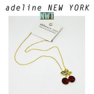 "Adeline New York 16"" Gold Cherry Necklace ~ NWT"